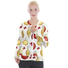 Vintage Christmas Pattern Background Casual Zip Up Jacket