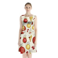 Vintage Christmas Pattern Background Sleeveless Waist Tie Chiffon Dress