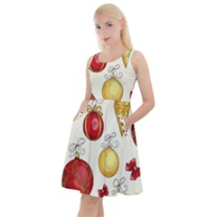 Vintage Christmas Pattern Background Knee Length Skater Dress With Pockets