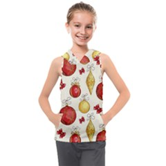 Vintage Christmas Pattern Background Kids  Sleeveless Hoodie by Vaneshart