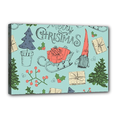 Vintage Christmas Pattern Canvas 18  X 12  (stretched)