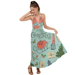 Vintage Christmas Pattern Backless Maxi Beach Dress
