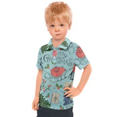 Vintage Christmas Pattern Kids  Polo Tee
