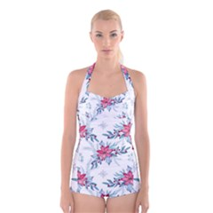 Watercolor Christmas Floral Seamless Pattern Boyleg Halter Swimsuit
