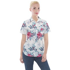 Watercolor Christmas Floral Seamless Pattern Women s Short Sleeve Pocket Shirt