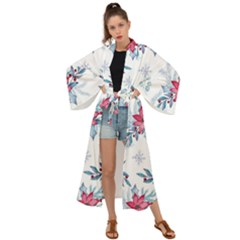 Watercolor Christmas Floral Seamless Pattern Maxi Kimono by Vaneshart