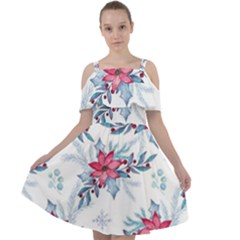 Watercolor Christmas Floral Seamless Pattern Cut Out Shoulders Chiffon Dress