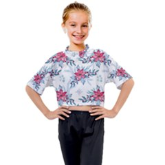 Watercolor Christmas Floral Seamless Pattern Kids Mock Neck Tee