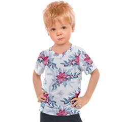 Watercolor Christmas Floral Seamless Pattern Kids  Sports Tee