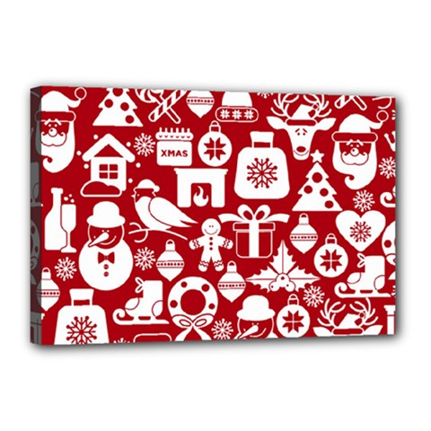 Christmas Seamless Pattern Icons Canvas 18  X 12  (stretched)