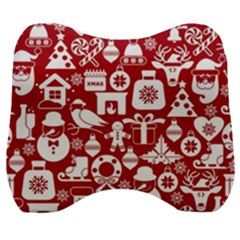 Christmas Seamless Pattern Icons Velour Head Support Cushion by Vaneshart