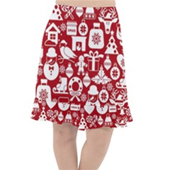 Christmas Seamless Pattern Icons Fishtail Chiffon Skirt
