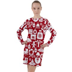 Christmas Seamless Pattern Icons Long Sleeve Hoodie Dress by Vaneshart