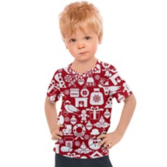 Christmas Seamless Pattern Icons Kids  Sports Tee