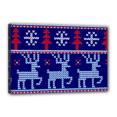 Knitted Christmas Pattern Canvas 18  X 12  (stretched)
