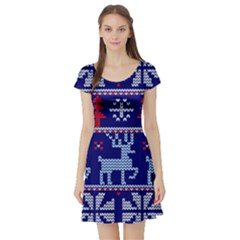 Knitted Christmas Pattern Short Sleeve Skater Dress