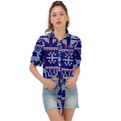 Knitted Christmas Pattern Tie Front Shirt
