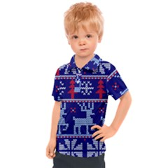 Knitted Christmas Pattern Kids  Polo Tee