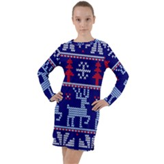 Knitted Christmas Pattern Long Sleeve Hoodie Dress