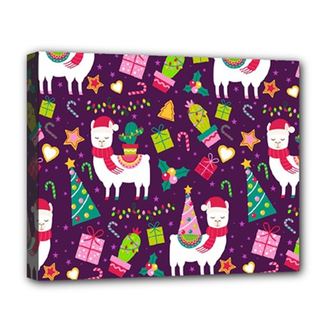 Colorful Funny Christmas Pattern Deluxe Canvas 20  X 16  (stretched)