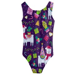 Colorful Funny Christmas Pattern Kids  Cut Out Back One Piece Swimsuit