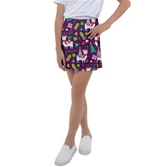Colorful Funny Christmas Pattern Kids  Tennis Skirt