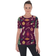 Christmas Pattern Collection Flat Design Shoulder Cut Out Short Sleeve Top