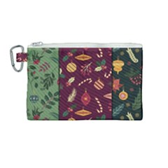Christmas Pattern Collection Flat Design Canvas Cosmetic Bag (medium)