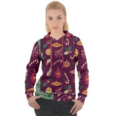 Christmas Pattern Collection Flat Design Women s Overhead Hoodie