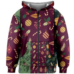 Christmas Pattern Collection Flat Design Kids  Zipper Hoodie Without Drawstring by Vaneshart