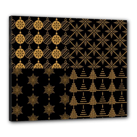 Golden Christmas Pattern Collection Canvas 24  X 20  (stretched)