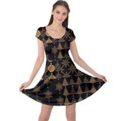 Golden Christmas Pattern Collection Cap Sleeve Dress