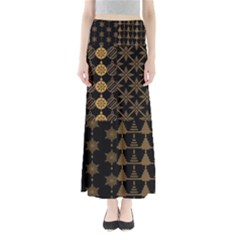 Golden Christmas Pattern Collection Full Length Maxi Skirt