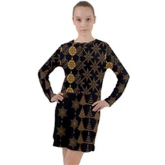 Golden Christmas Pattern Collection Long Sleeve Hoodie Dress