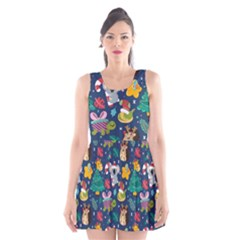 Colorful Funny Christmas Pattern Scoop Neck Skater Dress