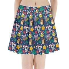 Colorful Funny Christmas Pattern Pleated Mini Skirt