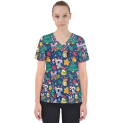 Colorful Funny Christmas Pattern Women s V-neck Scrub Top