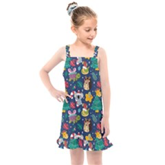 Colorful Funny Christmas Pattern Kids  Overall Dress