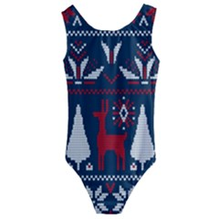 Knitted Christmas Pattern Kids  Cut Out Back One Piece Swimsuit