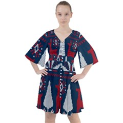 Knitted Christmas Pattern Boho Button Up Dress