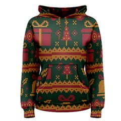 Knitted Christmas Pattern Women s Pullover Hoodie