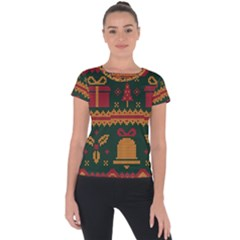 Knitted Christmas Pattern Short Sleeve Sports Top