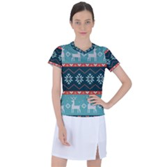Beautiful Knitted Christmas Pattern Women s Sports Top