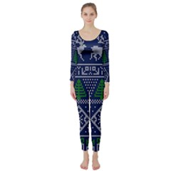 Beautiful Knitted Christmas Pattern Long Sleeve Catsuit