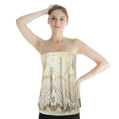 White And Gold Snakeskin Strapless Top by mccallacoulture