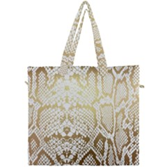 White And Gold Snakeskin Canvas Travel Bag by mccallacoulture