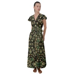Camo Flutter Sleeve Maxi Dress