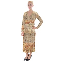 Ancient Maps Velvet Maxi Wrap Dress
