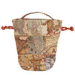 Ancient Maps Drawstring Bucket Bag