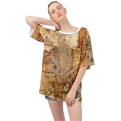 Ancient Maps Oversized Chiffon Top